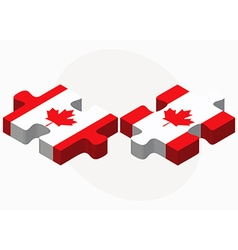 Canada and canada flags in puzzle vector