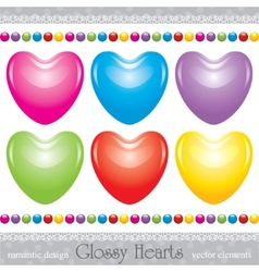Glossy hearts set vector