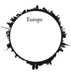 Europe circular background vector
