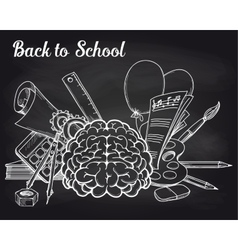 School objects on chalkboard vector image
