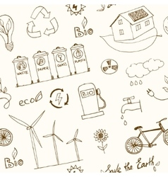 Ecology and recycle doodle seamless pattern vector image