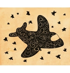 Cute hand drawn airplane vector