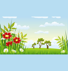 a landscape with flowers vector image vector image
