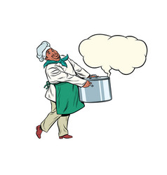 african chef holding a hot pot cloud of steam vector image