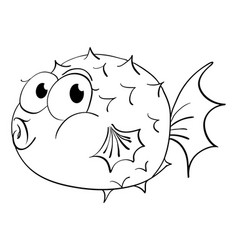 animal outline for puffer fish vector image