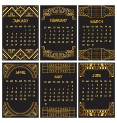 Art deco or gatsby calendar 2015 vector