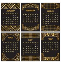 Art deco or gatsby calendar 2015 vector