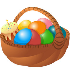 Basket of eggs cake vector
