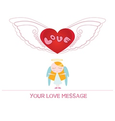 Cartoon angel girl in love vector