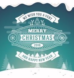 Christmas greeting card vintage design vector image vector image