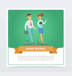 clients and manager bank works banner for vector image vector image