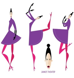 Collection of dancing women vector image