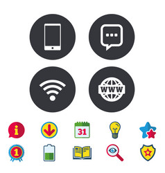 Communication icons smartphone and chat bubble vector