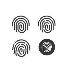 fingerprint icons set round shaped vector image vector image