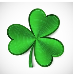 Green metallic isolated clover vector image