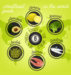 Healthiest food in the world vector
