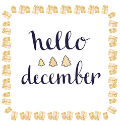 hello december handwritten card hand drawn vector image vector image