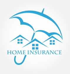 House with umbrella icon home insurance vector