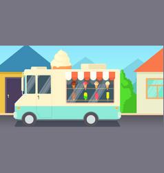 Ice cream horizontal banner shop cartoon style vector