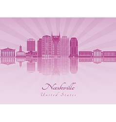 Nashville skyline in purple radiant orchid vector image vector image