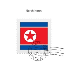 North korea flag postage stamp vector