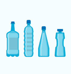 Plastic blue water bottles set isolated on white vector