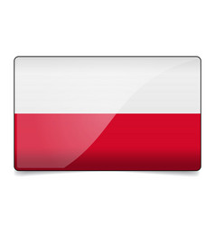 poland flag button with reflection and shadow vector image