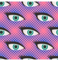 Pop art style halftone eyes pattern vector image