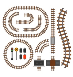 Railroad and railway tracks construction elements vector