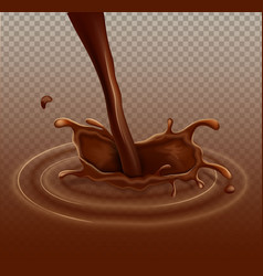 Realistic chocolate splash liquid whirl vector