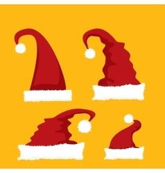 red Santa hat icon set vector image vector image