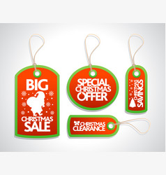 Sale christmas tags set red vector