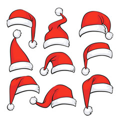 Santa red hats with white fur isolated christmas vector