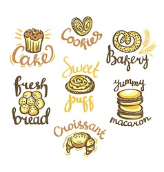 Set of bakery label on white background Bakery vector image vector image