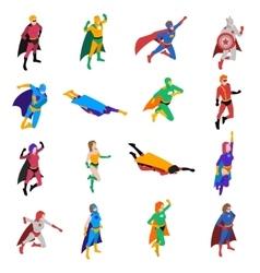Superhero Isometric Icons Set vector image vector image