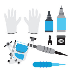 tattoo kit tools gloves and equipment in flat vector image