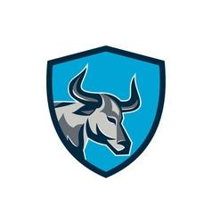 Texas longhorn bull head shield retro vector