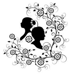 wedding silhouette 10 vector image vector image