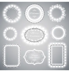 White christmas illumination frames vector