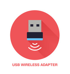 wireless usb adapter flat style icon wifi vector image vector image