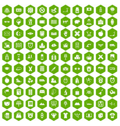 100 alarm clock icons hexagon green vector