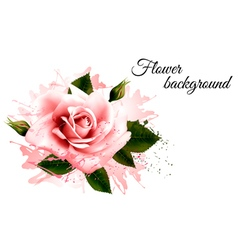 Beautiful flower background with a pink rose vector image