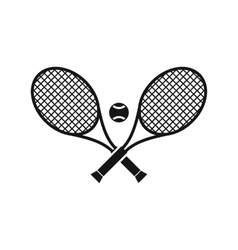 Crossed tennis rackets and ball icon simple style vector