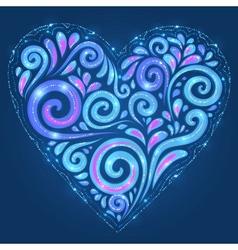 Blue shining heart on dark-blue background vector image