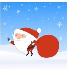 Santa Claus with big red sack Santa holding vector image