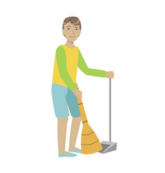 Guy with broom and duster sweeping the floor vector