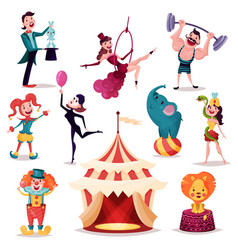 clown and magician near circus tent or camp vector image