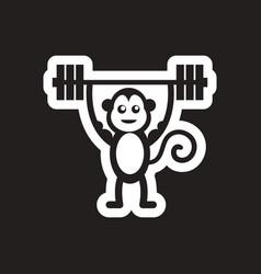 style black and white icon monkey athlete vector image