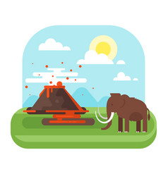 Prehistoric landscape and volcano with mammoth vector