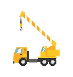 Yellow truck mounted hydraulic crane cartage vector